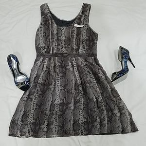Gray snake print 100% silk cocktail dress